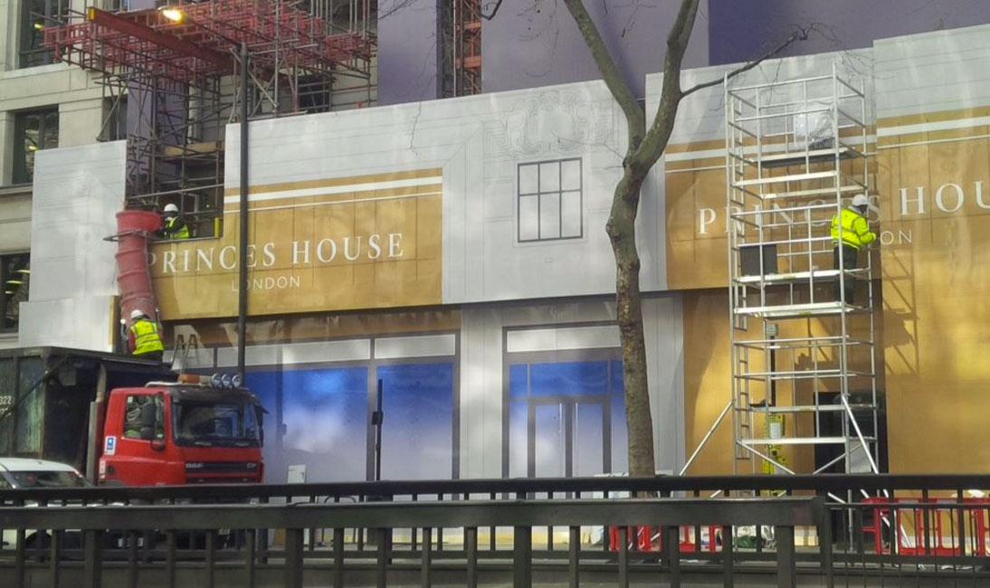 Embrace Building Wraps, London, Dibond Hoarding Installation