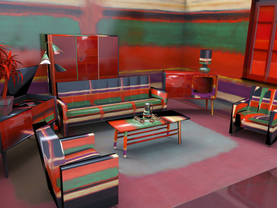 Jon Rafmann, Rothko 1960s Living Room, Archival Pigment Print Mounted on Dibond