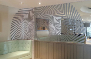 Oasis Graphics Co, Pizza Express, Rebranding, Digital Wallpaper, Dibond Mirror 3A Composites USA
