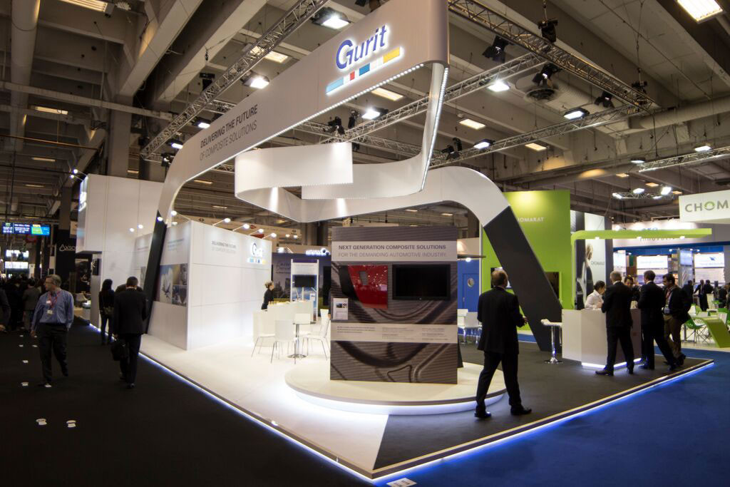 Exhibition Stand Structure : Tradeshow specialists use vinyl covered dibond panels for