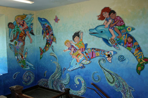 ward, school, dolphin, murals, newton, massachusetts, david, fichter, dibond