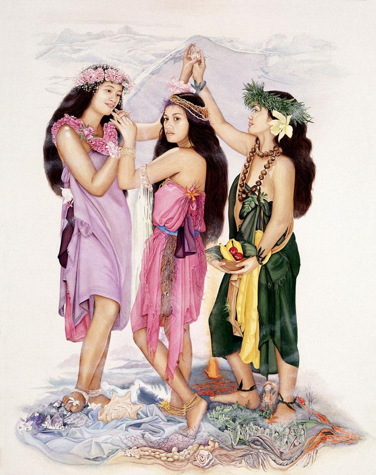 Three Hawaiian Graces Calley ONeill, Goddess Paintings, Gatorfoam, 3A Composites Graphic Display USA