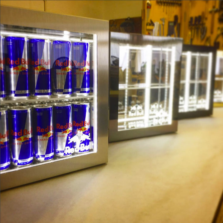 Mike Robinson Furniture, Red Bull UK, Bar Top Displays, Dibond Aluminum Composite, 3A Composites Graphic Display USA