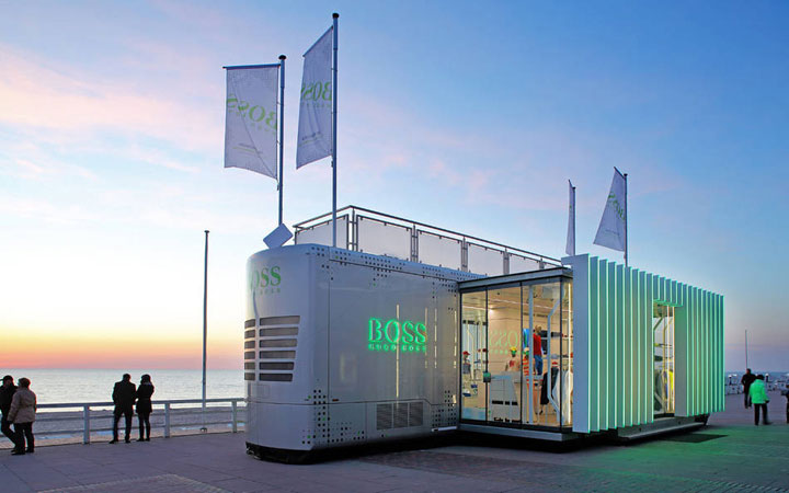 HUGO BOSS Green Mobile Retail Unit, Lignaova, ROSCONI, Dibond Aluminum Composite