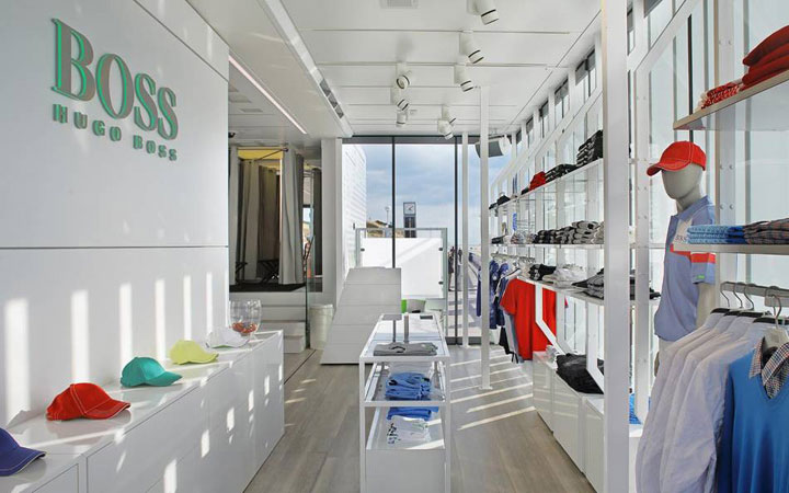 HUGO BOSS Green Mobile Retail Unit, Lignaova, ROSCONI, Dibond Aluminum Composite