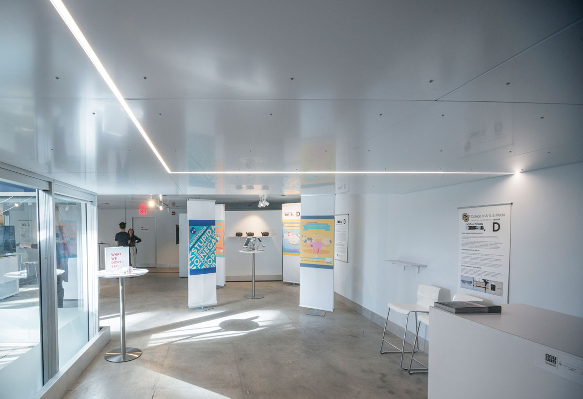 UC Denver College Architecture Planning Design Build, Next Stage Collaborative Gallery DPAC, Dibond Ceiling, Photography Jesse Kuroiwa