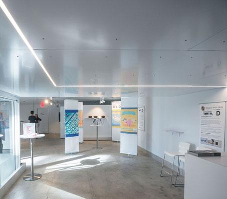 UC Denver College Architecture Planning Design Build, Next Stage Collaborative Gallery DPAC, Dibond Ceiling, Photography Jesse Kuroiwa