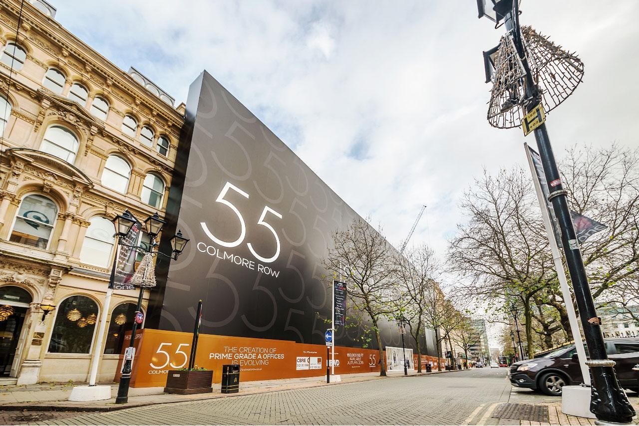 Embrace Building Wraps, 55 Colmore Row, Birmingham, Dibond Hoarding, IM Properties