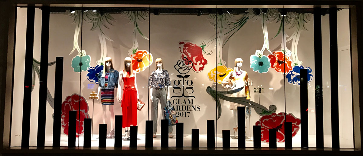 Glam Gardens, Saks Fifth Avenue, New York Botanical Garden, Retail, Window Displays, Ignition NYC,Laird Plastics, 3A Composites Graphic Display USA Gatorplast
