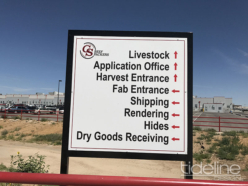 CS Beef Packers, TideLine Design, Idaho, Dibond, Directional Wayfinding Signage