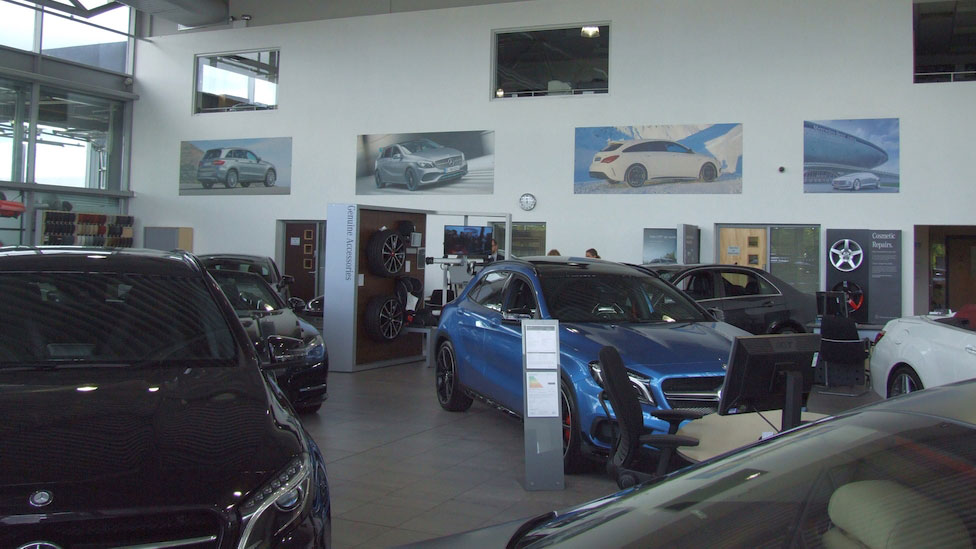 Spiral Colour, Mercedes Benz, Macclesfield, UK, Showroom, Dibond Interior Signage