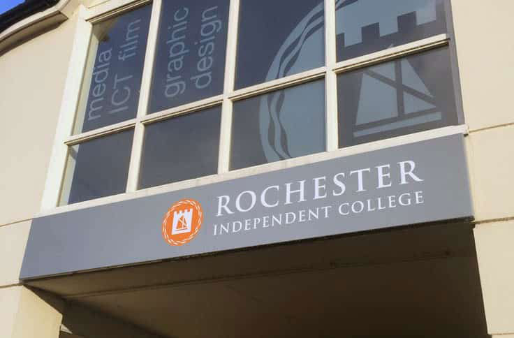 Rochester Independent College Kent, Exterior Signage, Wallace Print, UK, Dibond Aluminum Composite Tray Signs