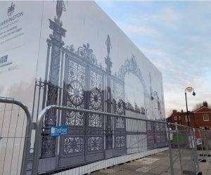 Wallace Print, Golden Gates, Warrington, Dibond Hoarding