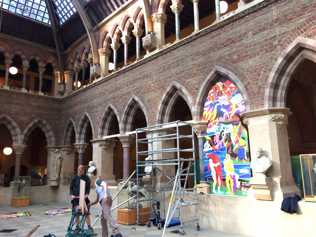 Installation of Ian Kirkpatricks Dibond Prints at Oxford Museum