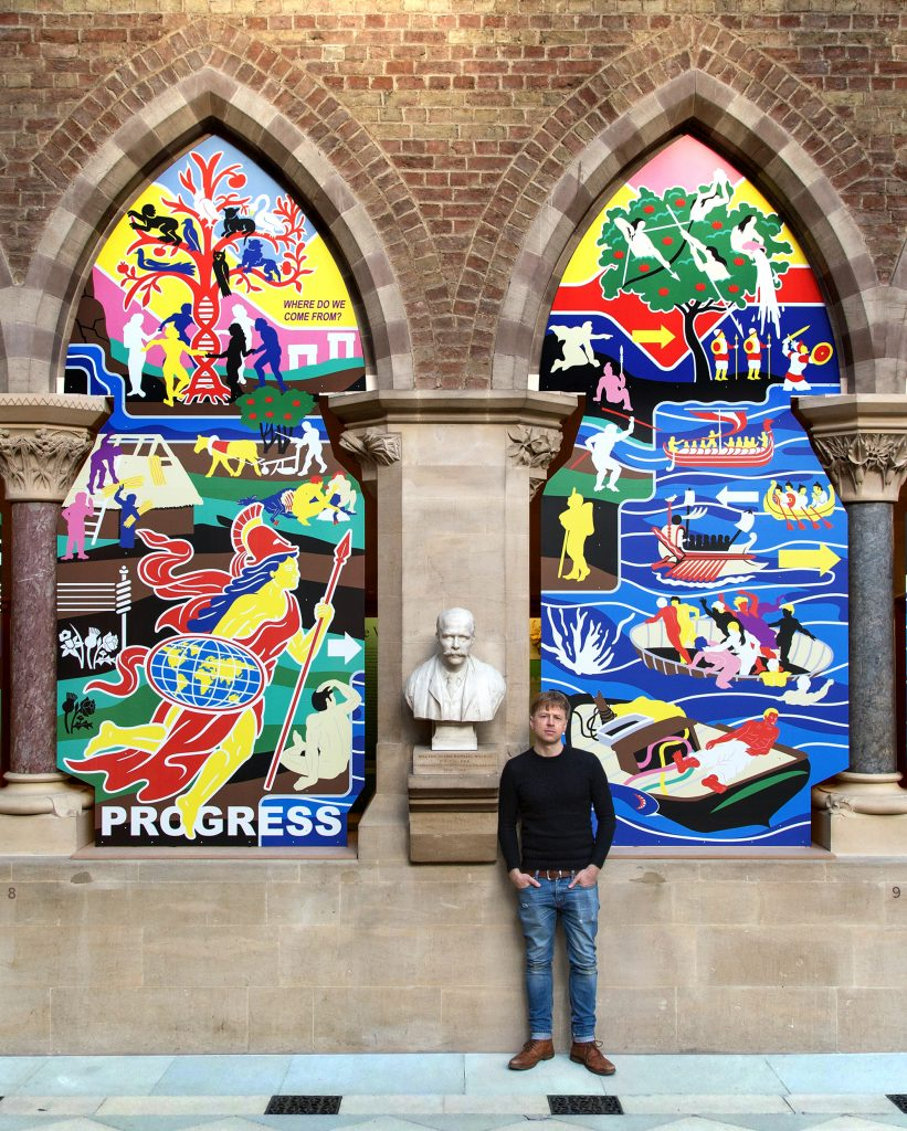 Artwork-Ian-Kirkpatrick Dibond Prints at Oxford Musem CONTEMPORARY ARTWORK CREATED WITH DIBOND® REFLECTS MUSEUM'S EXHIBITION WITH BOLD CONTRAST TO NEO-GOTHIC ARCHITECTURE